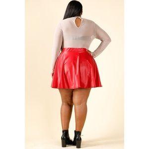 b8d9517c026 Skirts - 1x-3x New Plus Size PU Skater Skirt RED